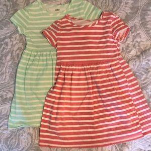 Pack of 2 striped skater dresses.